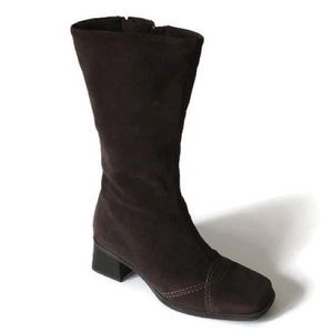 La Canadienne Brown Suede Mid Calf Boots, size 6